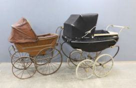 Leeway metal framed dolls pram, blue painted metal body and canvas roof, solid rubber tyres,
