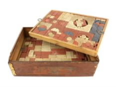 Set of Richter building bricks, late 19th century, boxed in three layers, box 12cm x 37.5cm x 27cm,