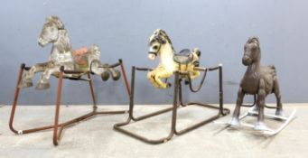 'Wonder Horse' sprung rocking horse on metal frame, 80cm high, another similar and a brown painted
