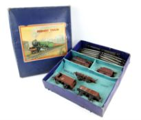Hornby 'O' gauge tin plate train set No. 601 Goods Set, (boxed) and other items to include Crane