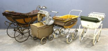 Simmons & Co., metal sprung, wood and leather dolls pram with metal spokes and solid rubber tyres,