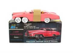 Thunderbirds JR 21 Toy Lady Penelope`s FAB 1, in pink plastic with friction drive, chrome wheels,