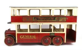 Lines Bros Tri-ang Toys, Bus. London Transport six-wheeler Omnibus, with inside staircase,