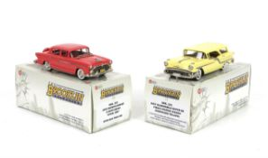 Six Brooklin Collection 1:43 scale model vehicles, comprising BRK 121, 1957 Oldsmobile Super 88