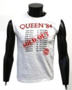 Queen - Crew sleeveless T shirt from Sun City 1984 given to Peter Hince, showing dates with 'SOLD