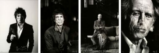 The Rolling Stones - Four silver gelatin prints of Ronnie Wood, Mick Jagger, Charlie Watts and