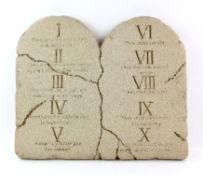Ten Commandments tablets prop, made of heavy prop foam, 23 x 19 x 2 inches.