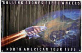 The Rolling Stones - Steel Wheels North American Tour poster 1989, rolled, 34 1/2 x 22 1/4 inches.