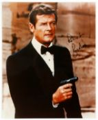 Roger Moore – A signed 10 x 8 inch photo showing him as James Bond 007, signed 'Best Wishes Roger