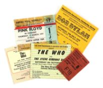 A group of 25 1970s concert tickets and stubs - including performances by Pink Floyd, Jethro Tull,