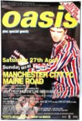 Oasis Manchester City FC concert poster for the two gigs 27th-28th Apr 1996 at the Maine Road