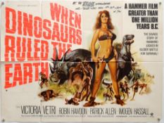 When Dinosaurs Ruled the Earth (1970) British Quad film poster, Hammer Film Production starring