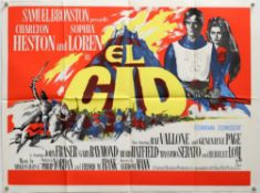 El Cid (1961) British Quad film poster and a re-release film poster, starring Charlton Heston and