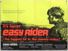 Easy Rider (1969) British Quad film poster, starring Dennis Hopper, Peter Fonda & Jack Nicholson,
