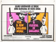 For a Few Dollars More / A Fistful of Dollars (1967) British Double Bill Quad film poster,