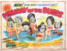 Holiday On The Buses (1973) British Quad film poster, Hammer film productions, folded,
