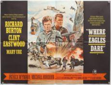 Where Eagles Dare (1969) British Quad film poster, War starring Clint Eastwood & Richard Burton,