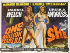 One Million Years B.C./She (1966) British Quad Double Bill film poster, artwork by Tom Chantrell,