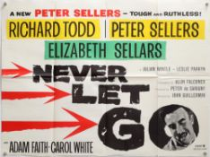 Never Let Go (1960) British Quad film poster, starring Richard Todd, Peter Sellers,