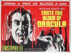 Taste the Blood of Dracula (1969) British Quad film poster, starring Christopher Lee, Hammer Horror,