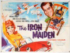 The Iron Maiden (1962) British Quad film poster, artwork by Renato Fratini, folded, 30 x 40 inches.