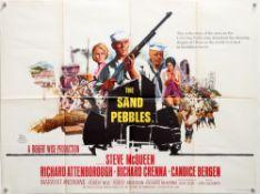 The Sand Pebbles (1966) British Quad film poster, War starring Steve McQueen & Richard Attenborough,