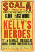 Kelly's Heroes (1970) British double crown cinema poster for the week long run at the Scala,