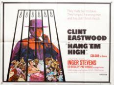 Hang Em High (1968) British Quad film poster, Western starring Clint Eastwood, folded,