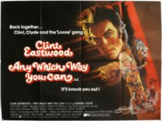 8 Clint Eastwood British Quad film posters including Play Misty For Me, Any Way Which Way You Can,
