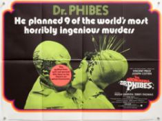 The Abominable Dr. Phibes (1971) British Quad film poster, horror directed by Robert Fuest &