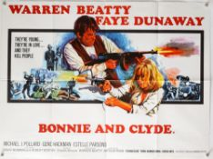 Bonnie & Clyde (1968) British Quad film poster with poster illustration by Tom Chantrell, folded,