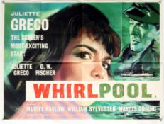 Whirlpool (1959) British Quad film poster, artwork by Renato Fratini, folded, 30 x 40 inches.