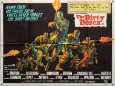 Dirty Dozen (1967) British Quad film poster, War directed by Robert Aldrich, folded, 30 x 40 inches.