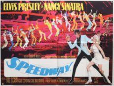 Elvis Presley Speedway (1968) British Quad film poster, staring Nancy Sinatra, folded,