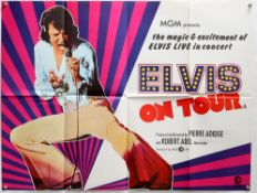 Elvis On Tour (1972) British Quad film poster for the Elvis Presley movie, folded, 30 x 40 inches,