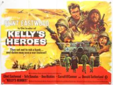Kelly's Heroes (1970) British Quad film poster, starring Clint Eastwood & Telly Savalas, MGM,