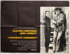 Midnight Cowboy (1969) British Quad film poster, starring Dustin Hoffman & Jon Voight,