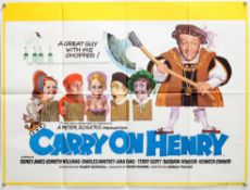 Carry On Henry (1971) British Quad film poster with Putzu artwork, starring Sid James,