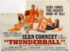 James Bond Thunderball (1965) British Quad film poster, starring Sean Connery, artwork by Robert