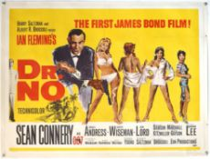James Bond Dr. No (1962) British Quad film poster for the first James Bond film, illustration by
