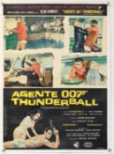 James Bond Thunderball (1965) Italian Photobusta film poster, starring Sean Connery, linen backed,