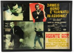 James Bond Goldfinger (1970's) Italian Photobusta film poster, framed and glazed,