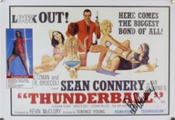 James Bond - a print of a Thunderball poster signed by Sean Connery, rolled, 30 x 42 cm.