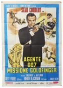 James Bond Goldfinger (R-1980's) Italian One Panel film poster, starring Sean Connery, folded,