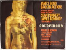 James Bond Goldfinger (1964) British Quad film poster, Style A, art by Robert Brownjohn,