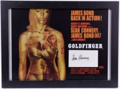 James Bond - framed Goldfinger mini poster signed by Sean Connery, 18 1/4 x 13 1/2 inches overall.