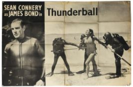 James Bond Thunderball (1965) Large black and white film UK poster showing Sean Connery as James