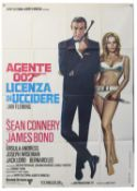 James Bond Dr. No (R-1970's) Italian One Panel film poster starring Sean Connery, folded,