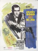 James Bond Dr. No (R-1970s) French Grande film poster, starring Sean Connery, linen backed,