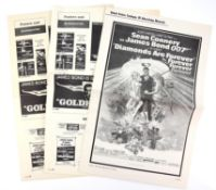 James Bond Goldfinger (1964) Two Pressbooks (one with tears), and a Pressbook for Diamonds Are